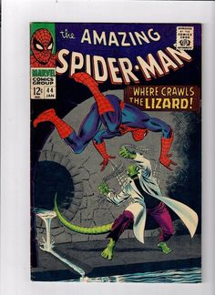"""Cover by John Romita Sr. Second appearance of the Lizard in """"Where Crawls the Lizard,"""" script by Stan Lee, art by John Romita Sr.; Dr. Connors reacts from The Rhino antidote he was previously working on and turns into The Lizard; Realizing this, he runs away but is spotted by his son Billy; The Lizard plots his human conquest and plans to defeat Spider-Man. Reprinted in Marvel Tales # 184. 36 pgs., full color."""