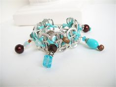 Hand-wired Soda Tab Bracelet - Bird's Egg - turquoise and brown - 7 1/2 inch - upcycled/recycled jewelry- gifts under 20.00. $18.00, via Etsy.