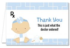 Little Doctor On The Way - Baby Shower Thank You Cards  The perfect way to say thank you to your guests after your doctor themed baby shower.