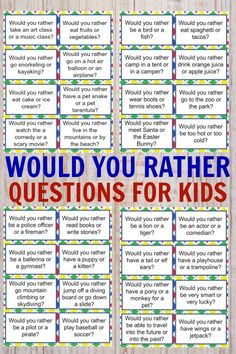 would you rather questions for kids ~ would you rather questions for kids . would you rather questions for kids fun . would you rather questions for kids hard . would you rather questions for kids free . would you rather questions for kids fall Toddler Activities, Learning Activities, Kids Learning, Time Activities, Summer Kid Activities, Teaching Kids, Morning Meeting Activities, Activities For 5 Year Olds, Social Emotional Activities