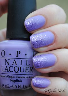 glitter gradient - OPI How Do You Lilac It? + NOPI One Less Lonely Glitter