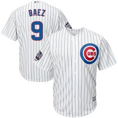 1aa626f63d0 Men s Chicago Cubs Javier Baez Majestic White Home 2016 World Series  Champions Cool Base Player Jersey