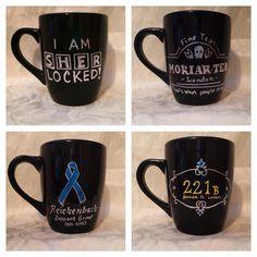 Sherlock inspired coffee mug set by KynasKreations on Etsy, $30.00