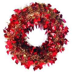 20 Festive Thanksgiving Fall Harvest Red and Gold Leaf Artificial Tinsel Wreath  Unlit ** This is an Amazon Affiliate link. Check out this great product.