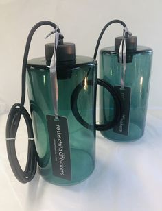 Large pick-n-mix cylinders in steel colour glass with matte bronze metalwork and braided flex