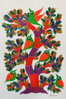 Birds 10 traditional art by Choti Gond Artist | ArtZolo.com