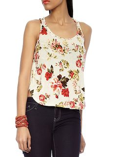 Floral Racerback Tank With Sheer Back