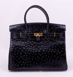 dab5c46a5f54 Кожаная сумка Hermes Birkin из натуральной кожи с выделкой под страуса,  черная Гермес Биркин,