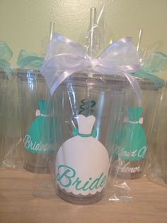 Personalized drink tumblers for the wedding party. Etsy.com