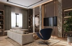 Taking Interiors to the next level? Here's a luxurious, high-end Interior design transformation of a Residential Home. Condominium Interior, Residential Interior Design, Empire Design, Living Room Designs, Interiors, Stone, Luxury, Modern, Furniture