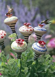 MINIBLOSSOM Ceramic FOLKLORE Hummingbird Feeder on Stake Parasol