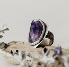 Large faceted amethyst stone, handset in fine silver bezel with a hand shaped sterling silver band and floral pattern band. Handmade in New Mexico, USA. Hand Shapes, Amethyst Stone, Statement Rings, Gemstone Rings, Gemstones, Sterling Silver, Floral, Pattern, Handmade