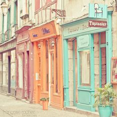 pastel painted shop fronts  #lifeinstyle #greenwithenvy