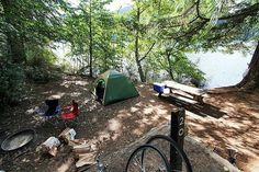 Lakefront campsite in Moran State Park on Orcas by Manuel W