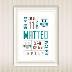 Personalisiertes Bild im Format A4 zur Geburt, als Taufgeschenk oder einfach als eigenes Geschenk für dich.  Diese Drucke verbreiten gute Laune in deinem Heim und motivieren dich.  Passt...