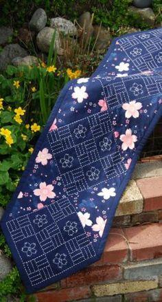 sashiko stitched and pieced cherry blossom runner