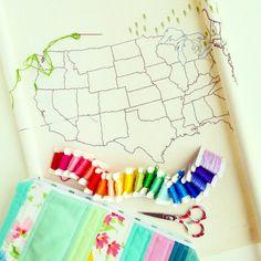 Stitch the States large US map embroidery by raisinguprubies