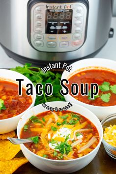 Taco Soup with instructions to make it in the Instant Pot or the Slow Cooker. Taco Soup is so easy and is the best for serving on cold days with all of your favorite taco toppings! Rock Crock Recipes, Slow Cooker Recipes, Mexican Food Recipes, Crockpot Recipes, Soup Recipes, Vegan Recipes, Ethnic Recipes, Instant Pot Pressure Cooker, Pressure Cooking