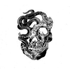 #skull #snake #tattoo #draw #illustration #art