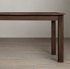 "Drifted Oak Parsons Extension Table. 60""L x 36""W x 30""H; extends to 92""L with two 16"" extensions."