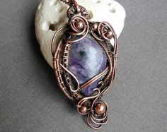 Pink stone pendant Rhodonite pendant Wire Wrapped pendant Gift for wife Healing Crystals Art nouveau pendant Copper pendant is lovely wire