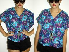 Vintage Blue Floral Print Shirt Top - 1990s Indie Festival Hawaiian