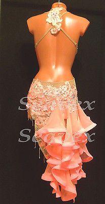 Woman Ballroom Latin Cha Cha Ramba Dance Dress US 6 UK 8 Same Color