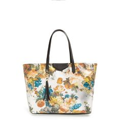 POVERTY FLATS by rian Floral Print Tote (£62) ❤ liked on Polyvore featuring bags, handbags, tote bags, silver, metallic tote, tassel handbag, pocket tote, floral handbags and zip top tote