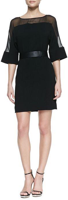 Love the Halston Heritage Sheer-Top Belted Crepe Dress on Wantering. Stylish Dresses, Elegant Dresses, Sexy Dresses, Short Dresses, Fashion Dresses, Dresses For Work, Party Frocks, Estilo Fashion, Crepe Dress
