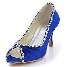 Bombas de las mujeres del satén de la boda del talón de estilete peep toe Shoes (más colores) – USD $ 49.99