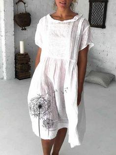 Cotton and Dandelion Print Dress Linen Dresses, Cotton Dresses, Casual Dresses, Printed Dresses, Floral Dresses, Womens Fashion Online, Latest Fashion For Women, Striped Linen, Striped Dress