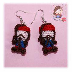Amigurumi crochet earrings Jack Sparrow. Orecchini uncinetto amigurumi Jack Sparrow.