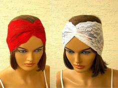 Set of 2 lace headbands strech headband turban by KnitterPrincess