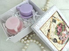 Tea Cup Soap Favors in Gift Box Set of 6