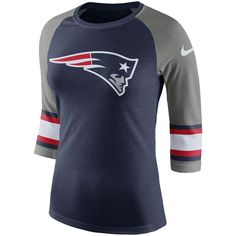 Women s New England Patriots Nike Navy Stripe 3 4-Sleeve Raglan Tri-Blend T- Shirt 021b55a6a