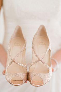 Color Inspiration: Shimmering Gold Wedding Ideas - wedding shoes