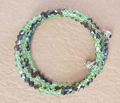 Green and Black Memory Wire Stainless Steel Bracelet by KalaaStudio on Etsy