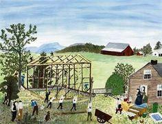 """Building a Barn"", Grandma Moses"