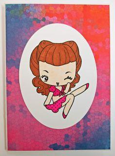 Pin-up tyttö kortti