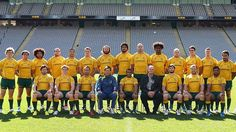 The Wallabies pose for a team photo during the captain's run at Eden Park on August 24, 2012 in Auckland, New Zealand.