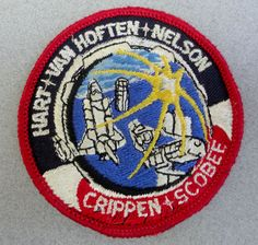 Vintage Patch Embroidered Space Shuttle Challenger 1984 Crew NASA Space Mission Badge
