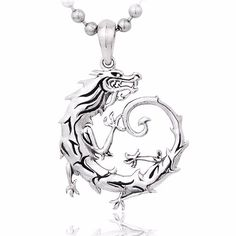 925 Sterling Silver Fine Dragon Lucky Pendant Necklace