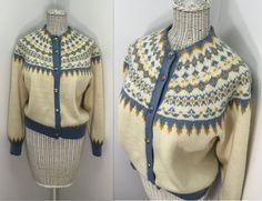 Nordic Style Cardigan // Vintage Hand Knit Sweater from Norway // Women Size Medium, Button Down Norwegian Knitting, Hand Knitted Sweaters, Blue Accents, Nordic Style, Unique Vintage, Norway, Hand Knitting, 1950s, Birthday Gifts