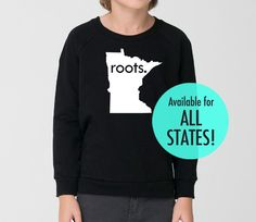 All States 'Roots' or 'Made' Toddler Kid California Fleece Sweatshirt - Black Sizes 2, 4, 6 by SevenMilesPerSecond on Etsy