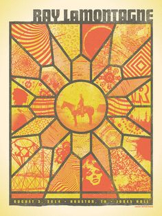 """Official poster for Ray LaMontagne's show at Jones Hall in Houston, TX on 08.03.14. 18""""x24"""", 3-color screen print, in an edition of 120 (with very few available here). Signed and numbered by poster ar"""