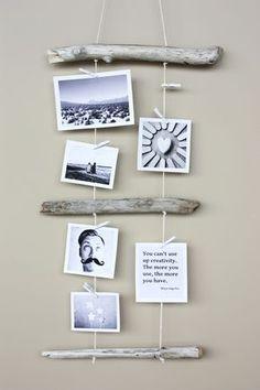 Kreativ Fotos aufhängen - Mit Holz und Garn
