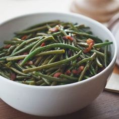 Green Beans with Sweet-and-Sour Bacon Dressing. Great alternative to green bean casserole on Thanksgiving. #green beans #thanksgiving