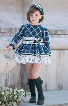 Stunning navy, white & green check dress by Miranda for Winter In stock for immediate delivery. Cute Little Girls Outfits, Little Girl Models, Cute Girl Dresses, Kids Outfits Girls, Girly Outfits, Young Girl Fashion, Preteen Girls Fashion, Baby Girl Fashion, Kids Fashion