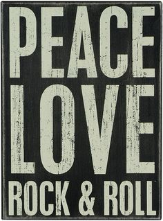 PK053 Primitives Box Sign - Peace Love Rock & Roll