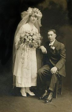 +~+~ Antique Photograph ~+~+ Beautiful Bride and Groom